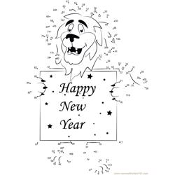 Happy New Year Lion Dot to Dot Worksheet