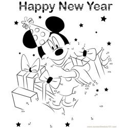 Mickey Celebrating New Year Dot to Dot Worksheet