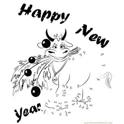 New Year Cow Dot to Dot Worksheet