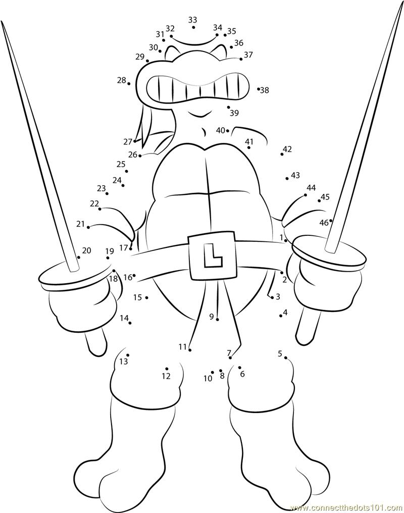 Teenage Toys For Christmas : Leonardo with swords dot to printable worksheet