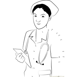 Nurse with Stethoscope and Notepad Dot to Dot Worksheet