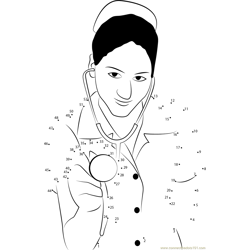Nurse with Stethoscope Dot to Dot Worksheet
