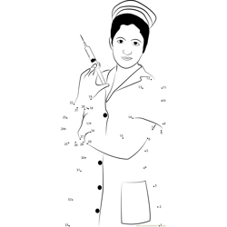 Nurse with Syringe Dot to Dot Worksheet