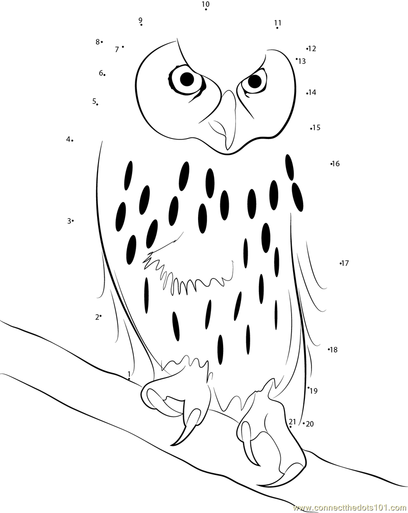 Laughing Owl Dot To Dot Printable Worksheet Connect The Dots
