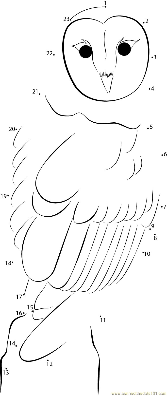 owl in national park dot to dot printable worksheet