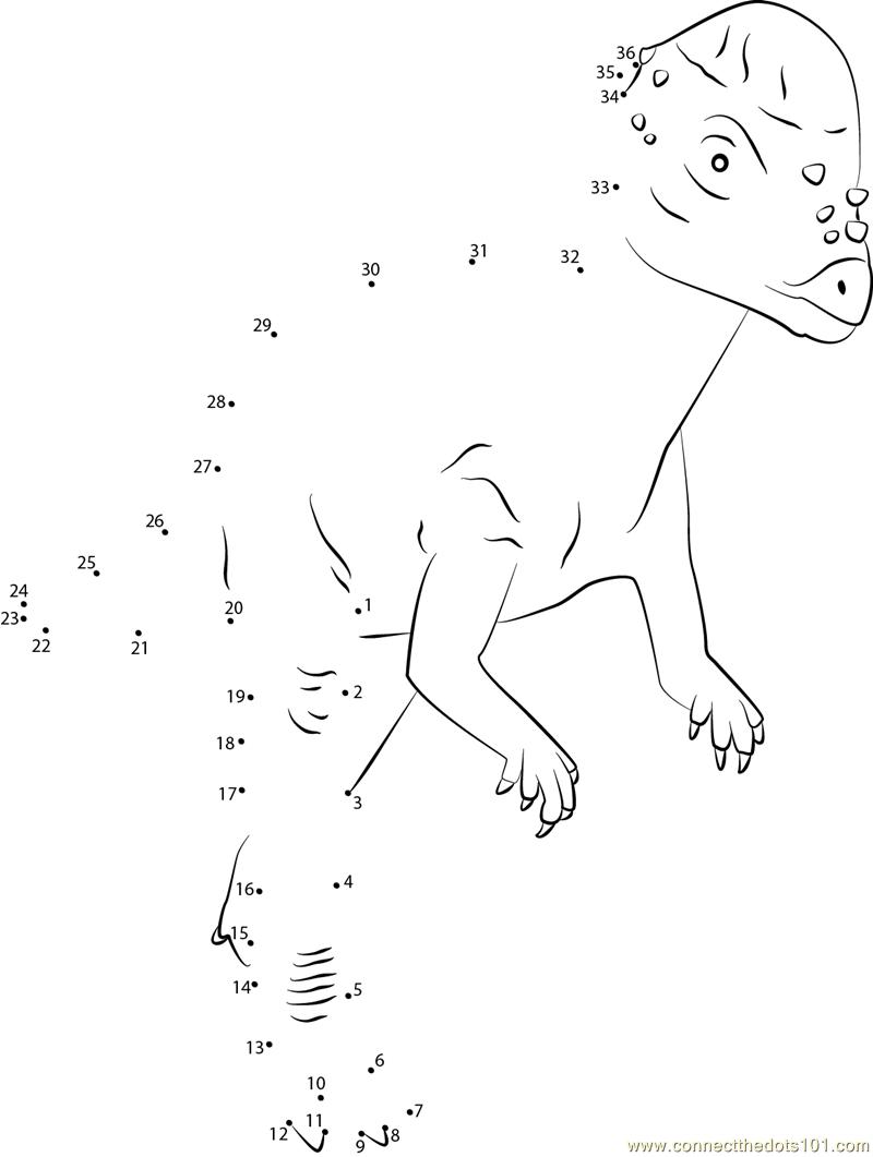 Pachycephalosaurus Dino dot to dot printable worksheet - Connect The ...