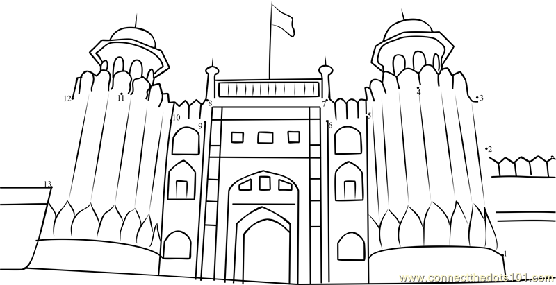 The Lahore Fort dot to dot printable worksheet - Connect ...