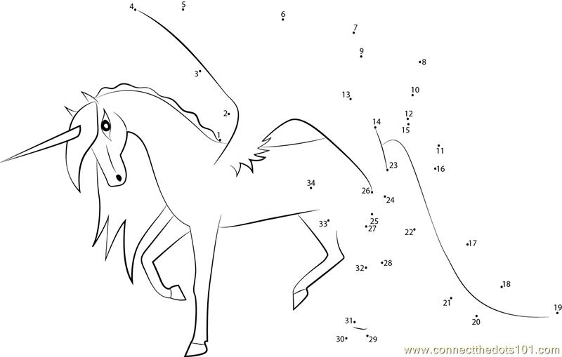 Unicorn Pegasus Hybrid Dot To Dot Printable Worksheet