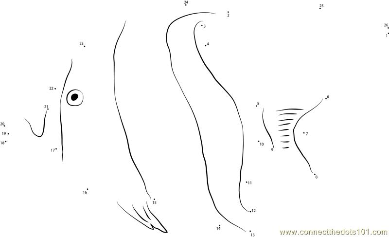 Moorish Fish Dot To Dot Printable Worksheet
