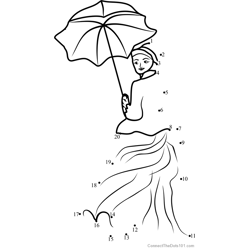 Woman with a Parasol Dot to Dot Worksheet