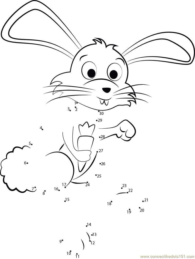 Peter cottontail running dot to dot printable worksheet for Peter cottontail coloring pages
