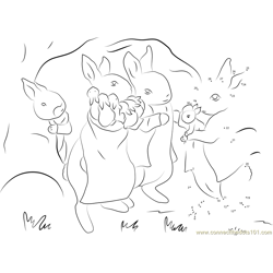 Peter Rabbit with Family Dot to Dot Worksheet