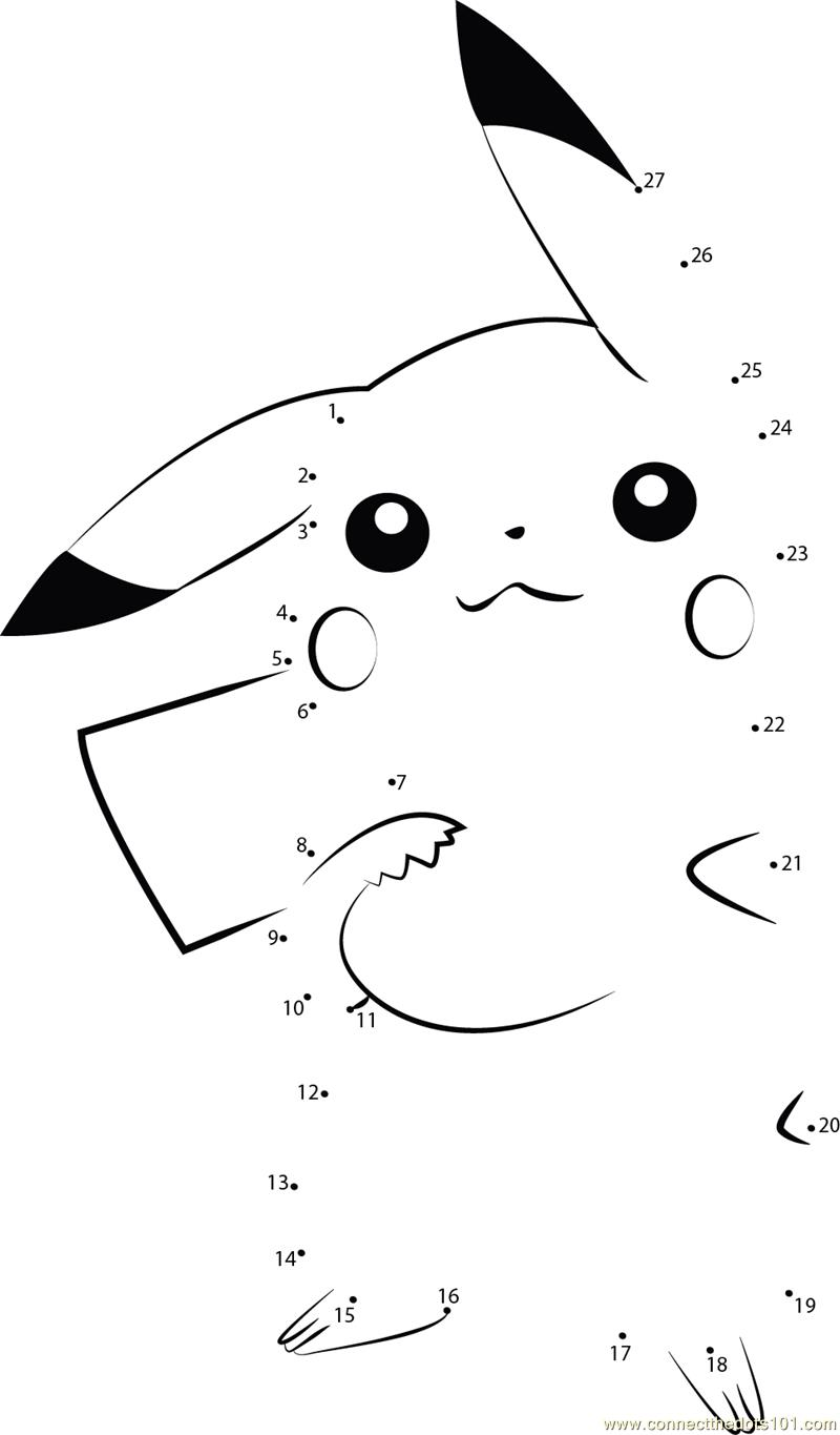 pikachu connect the dots worksheets printable for kids