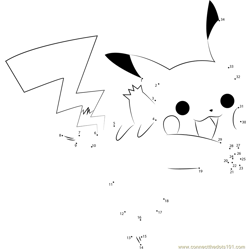 Joyful Pikachu Dot to Dot Worksheet