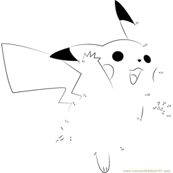 Pikachu Flying Dot to Dot Worksheet
