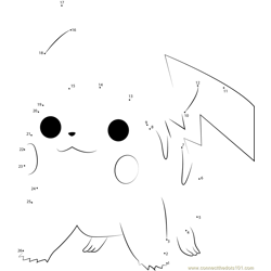 Pikachu by Caridea Dot to Dot Worksheet
