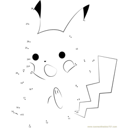 Pikachu the Pokemon Dot to Dot Worksheet
