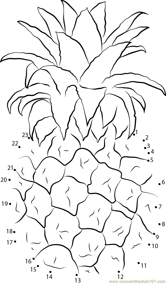 Pineapples dot to dot printable worksheet Connect The Dots