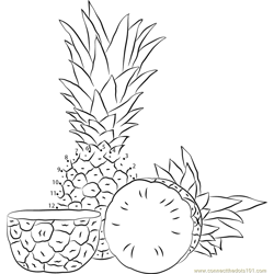 Fresh Pineapples Dot to Dot Worksheet