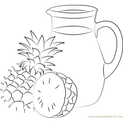Pineapple Juice in Pot Dot to Dot Worksheet