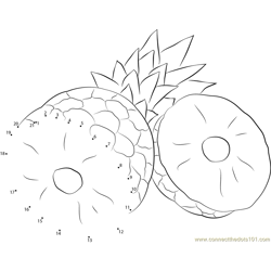 Pineapples Cut Dot to Dot Worksheet