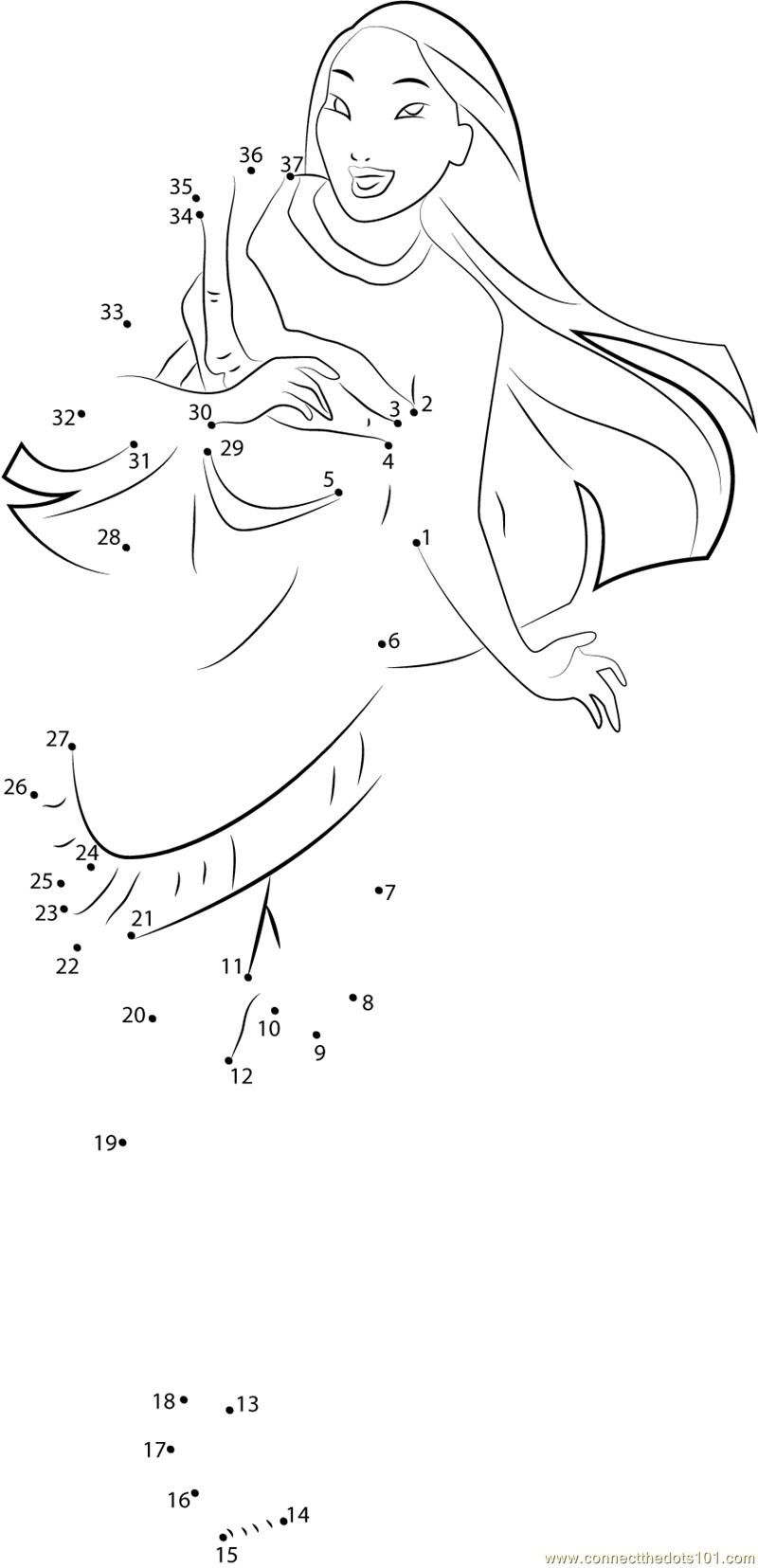 Princess Pocahontas dot to dot printable worksheet - Connect The Dots