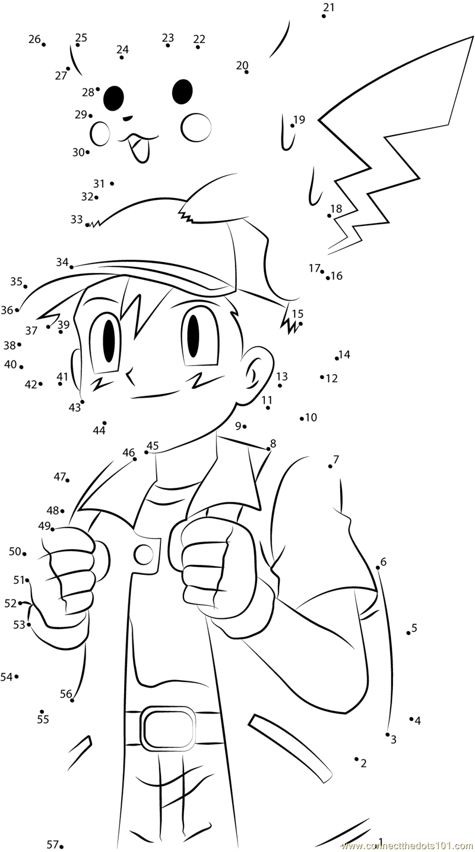 cute ash and pikachu dot to dot printable worksheet