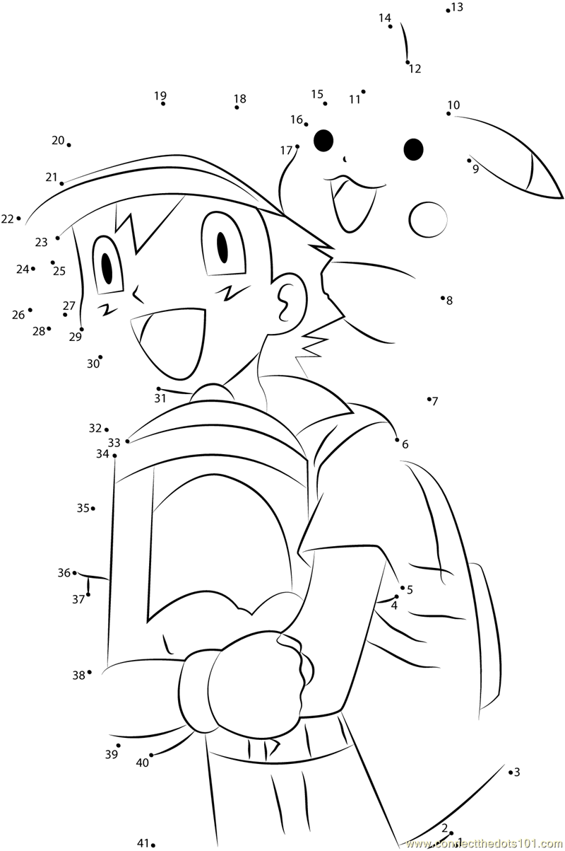 happy ash and pikachu dot to dot printable worksheet connect the