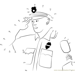 Policeman Saluting Dot to Dot Worksheet