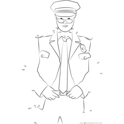 Policeman in Uniform with Glasses Dot to Dot Worksheet