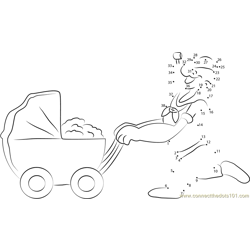 Popeye with Baby Cart Dot to Dot Worksheet