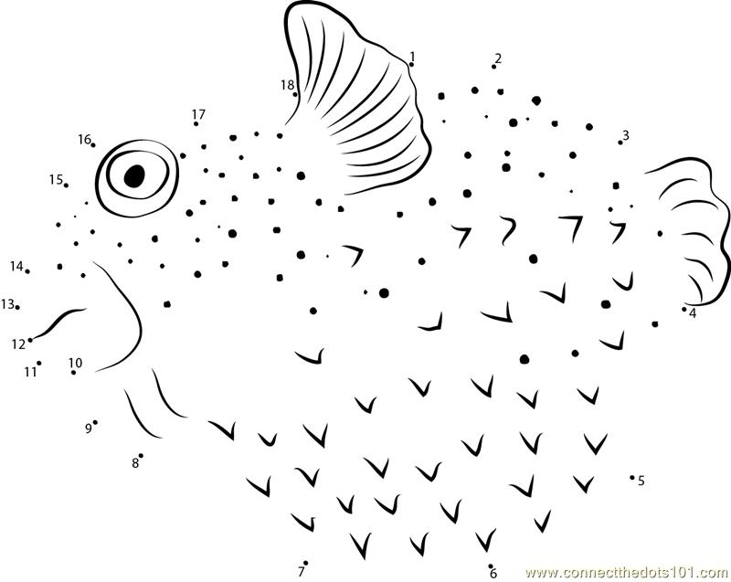 Pufferfish Dot To Dot Printable Worksheet