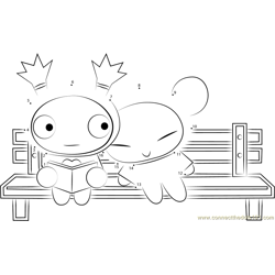 Pucca and Garu Sitting on a Bench
