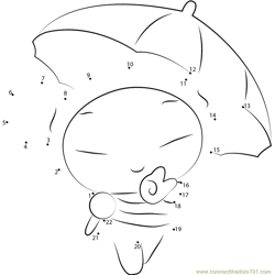 Pucca with Umbrella Dot to Dot Worksheet