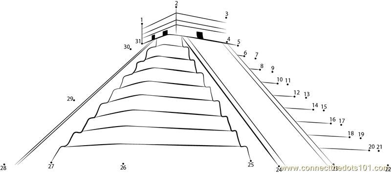 Mayan Pyramid Coloring Pages