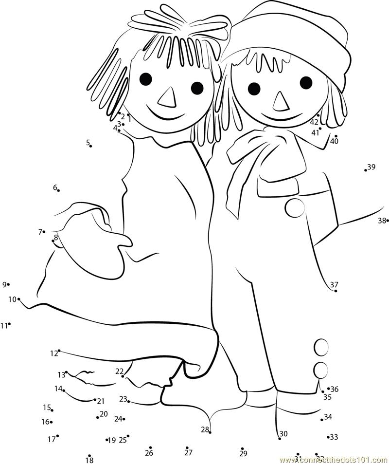 Cute Couple Worksheets : Raggedy ann cute couple dot to printable worksheet