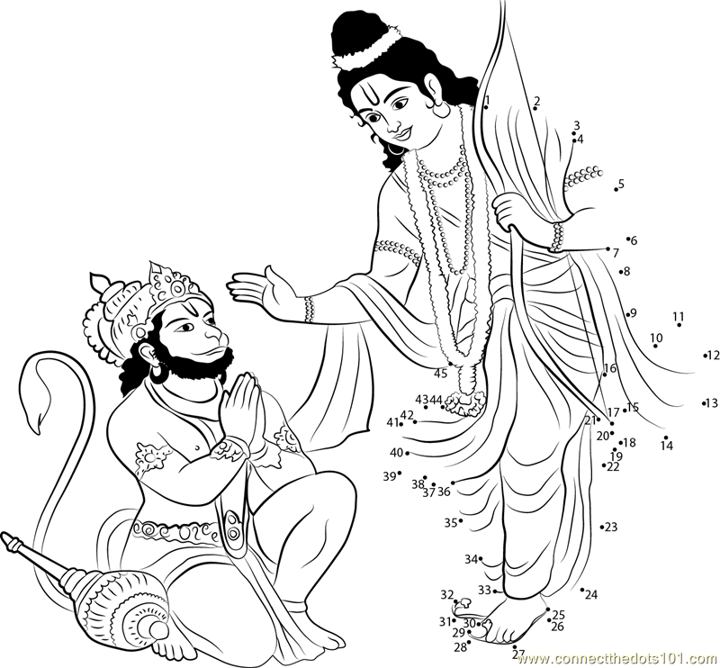 4160 Rama Give Bless To Hanuman Dot To Dot on Superheroes Worksheets For Kids
