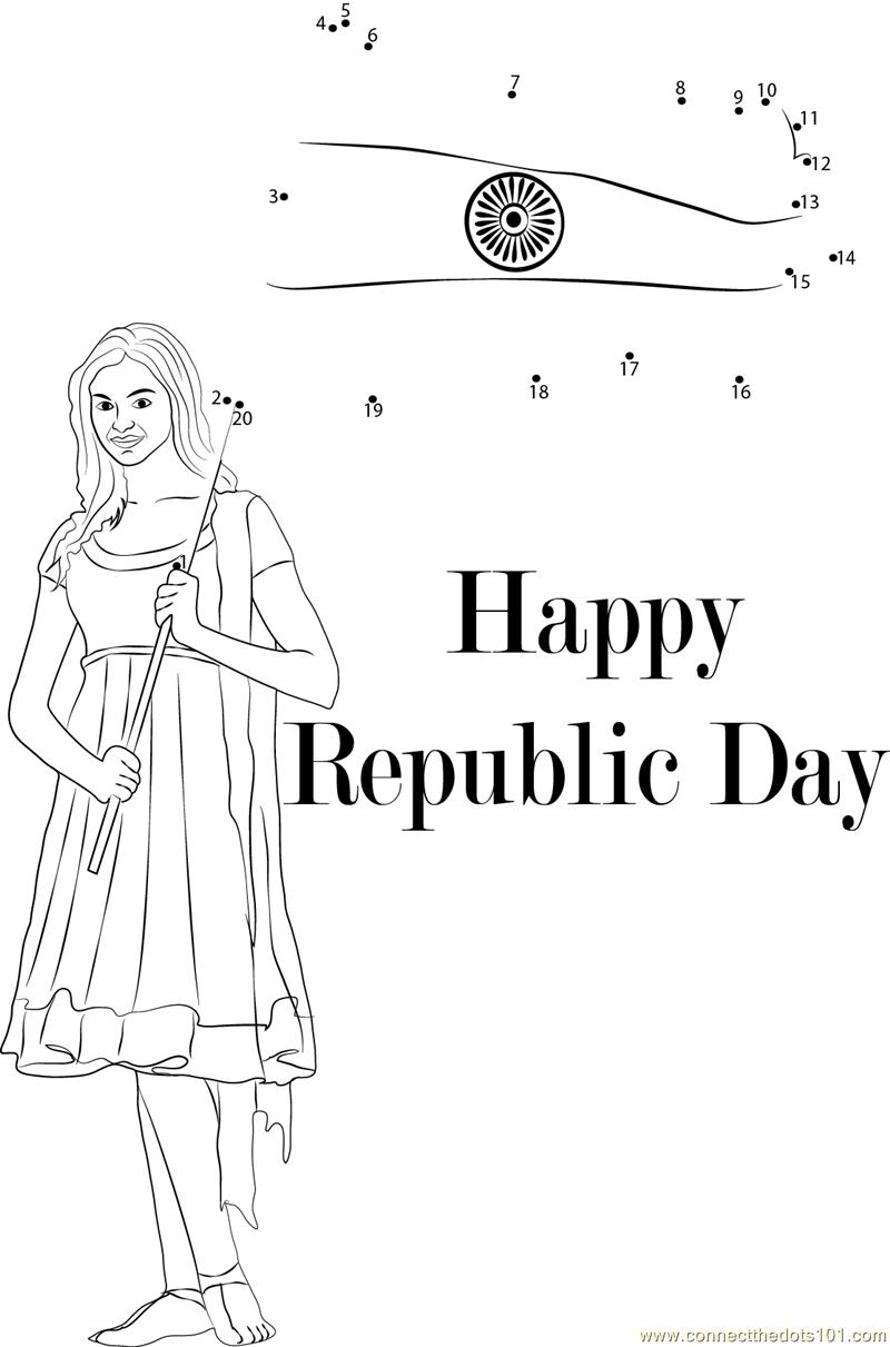Enjoy Republic Day dot to dot printable worksheet