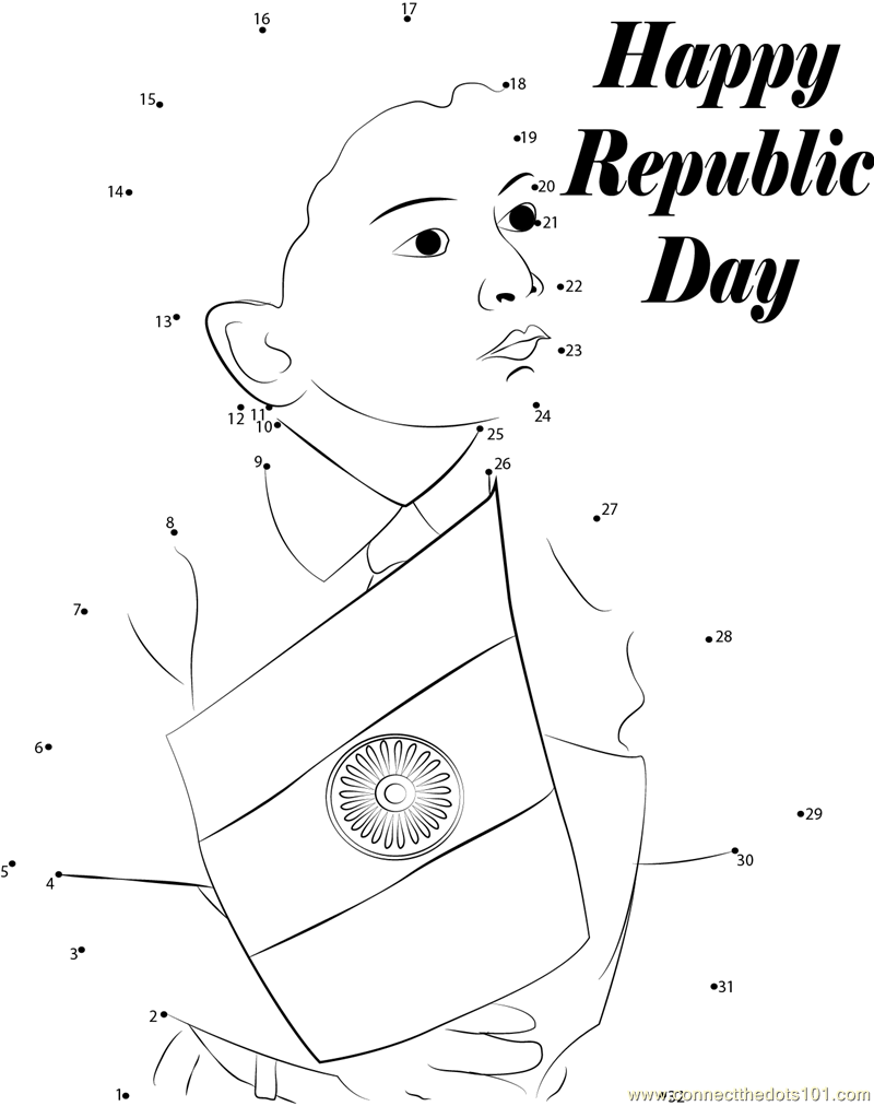 Coloring Pages For Uae National Day : Happy indian republic day dot to printable worksheet