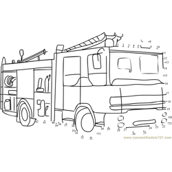Fire Rescue Vehicle Dot to Dot Worksheet