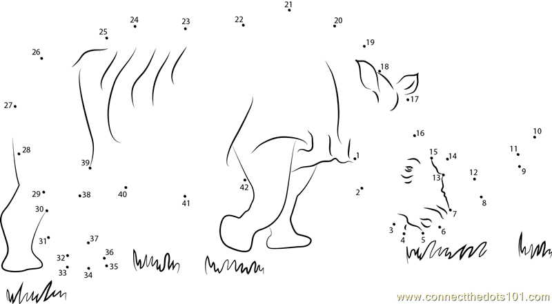 African Black Rhino Dot To Dot Printable Worksheet Connect The Dots