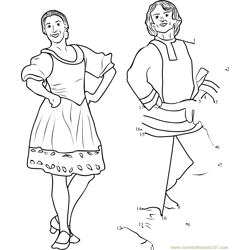 Russian Folk Dance Barynya Dot to Dot Worksheet
