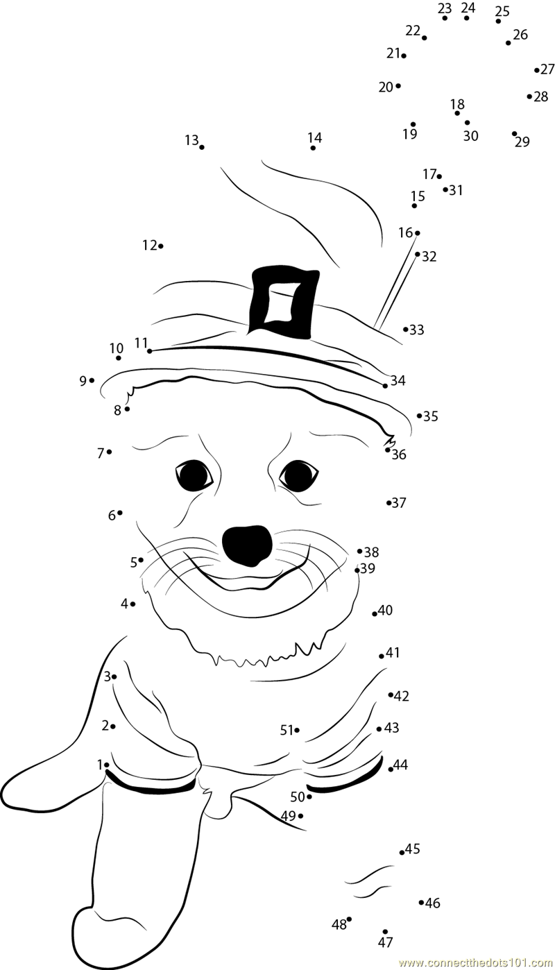 Saint Patrick Day Dog Constume dot to dot printable