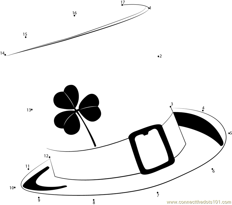 St Pattys Day Hat dot to dot printable worksheet