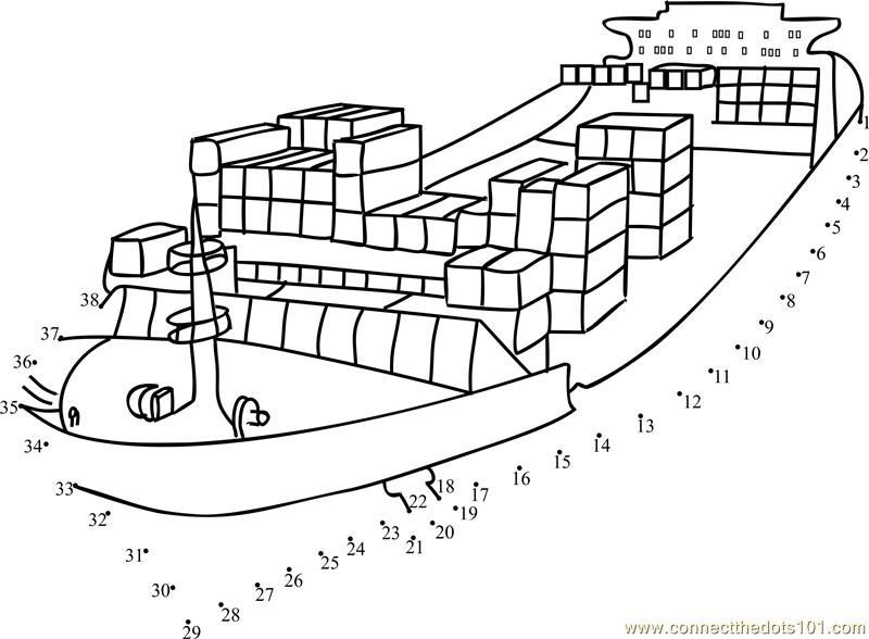 Cargo Cruise Dot To Dot Printable Worksheet
