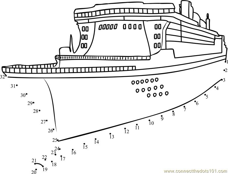 Passenger Ship Dot To Dot Printable Worksheet