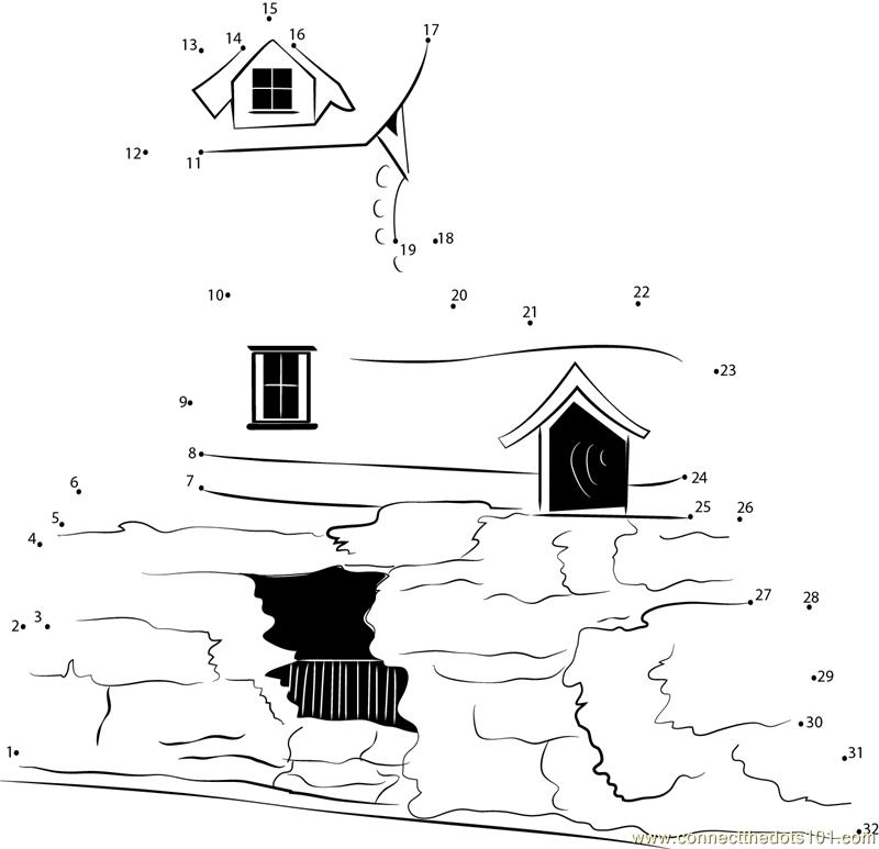 Beautiful Shoe House Dot To Dot Printable Worksheet