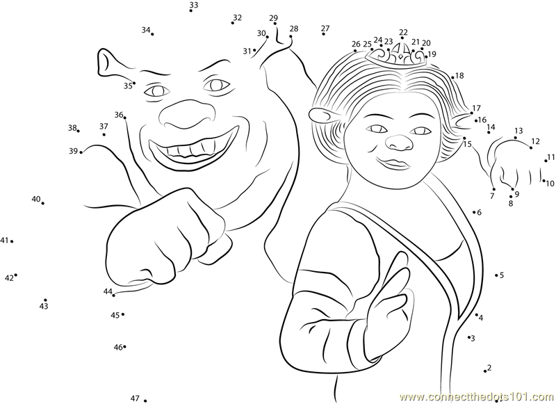 Cute Couple Worksheets : Cute couple shrek and princess fiona dot to printable