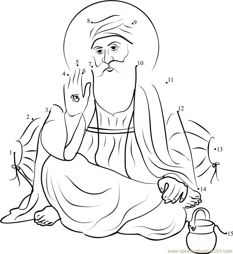 Guru Nanak Dev ji Line Drawing