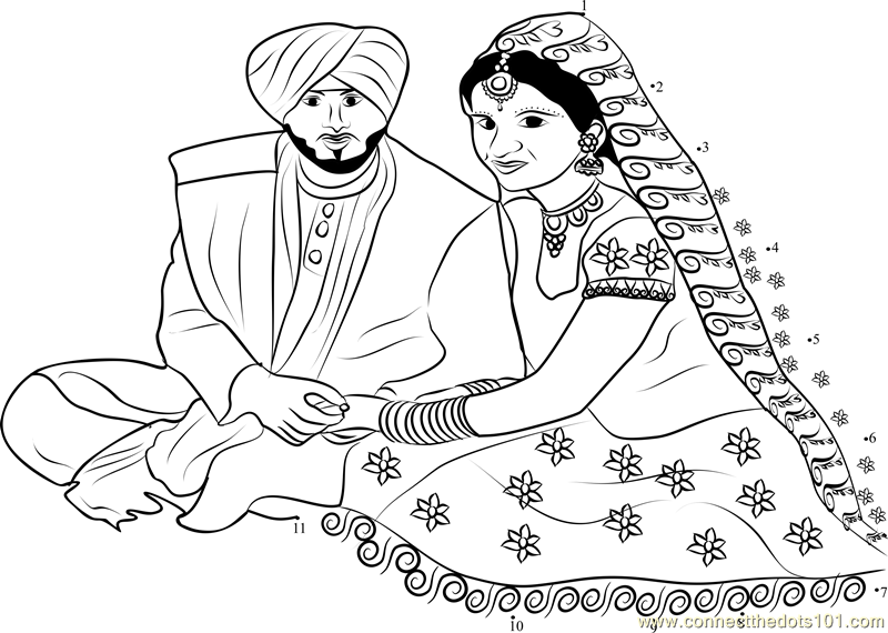 Punjabi Wedding Couple dot to dot printable worksheet